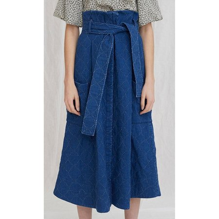 Whit Quilted Denim Pocket Skirt - Indigo