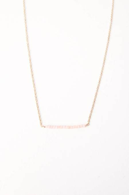 Leah Alexandra Rose Quartz Bar Necklace