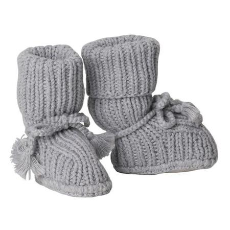 KIDS Tane Organics Sock Booties with Ties - Graphite Grey
