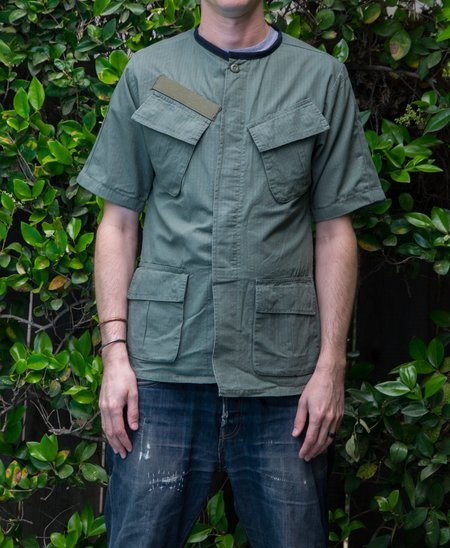 Custom Lifestyle by Hamid Holloman Nehru Collar Military Shirt - Washed olive
