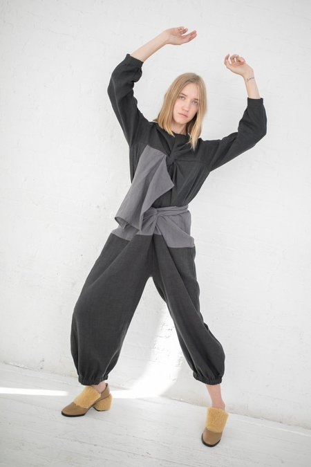 Cosmic Wonder Wrapped Gathered Pants - Gray