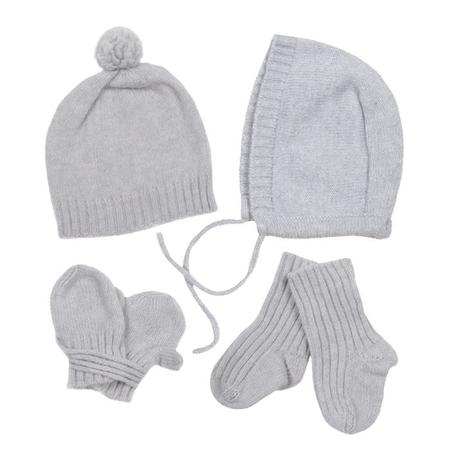 KIDS Makié Baby Four Piece Set Cashere Hat Bonnet Socks And Mittens Ice Grey