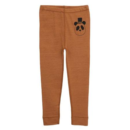 Kids Mini Rodini Baby and Child Wool Leggings with Panda - Beige Brown