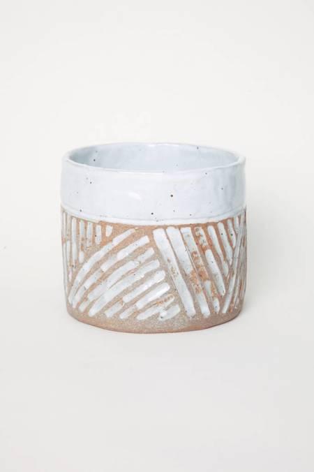 Alice Cheng Studio Carved White Glazed Band Medium Planter