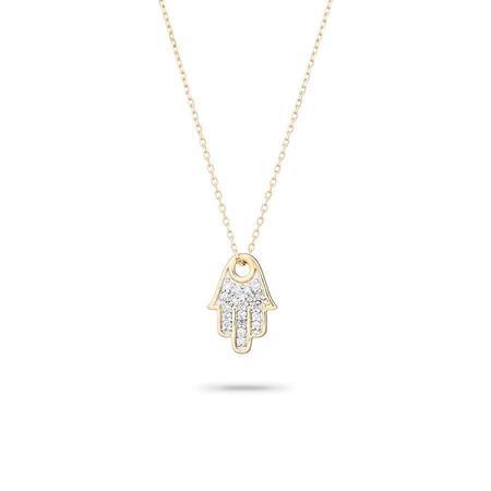 Adina Reyter Solid Pave Hamsa Necklace - Gold
