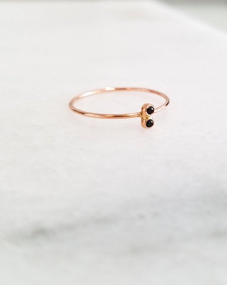 Blanca Monrós Gómez Double Black Diamond Seed Ring - 14k Rose Gold