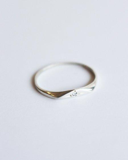 Claus Diamond Petite Triangle Signet - Silver