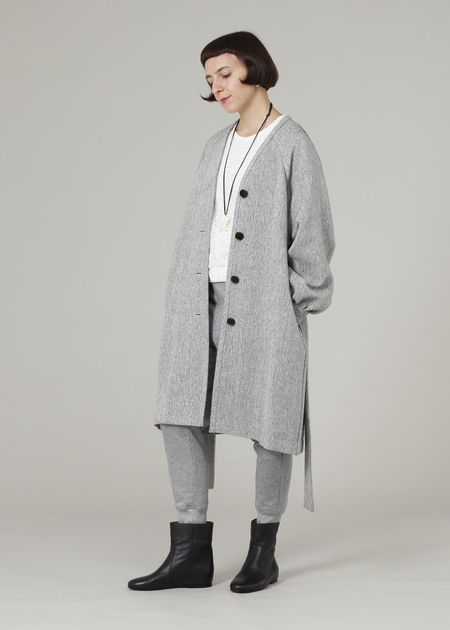 PLAINLESS GOWN COAT - gray