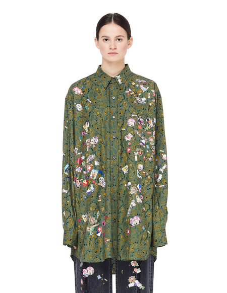 Unisex Vetements Cotton Paisley Shirt with Stickers