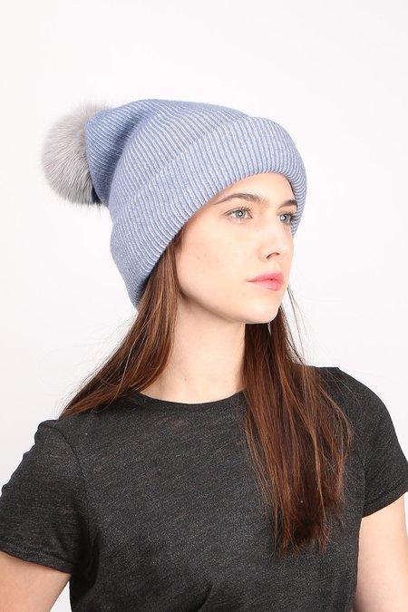Inverni Giulia Cashmere Blend Beanie - Denim/Grey