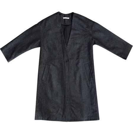 Ali Golden V-NECK COAT - black