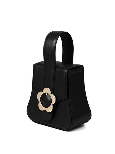 HIGH CHEEKS Heyday Flower Buckle Block Bag - Black