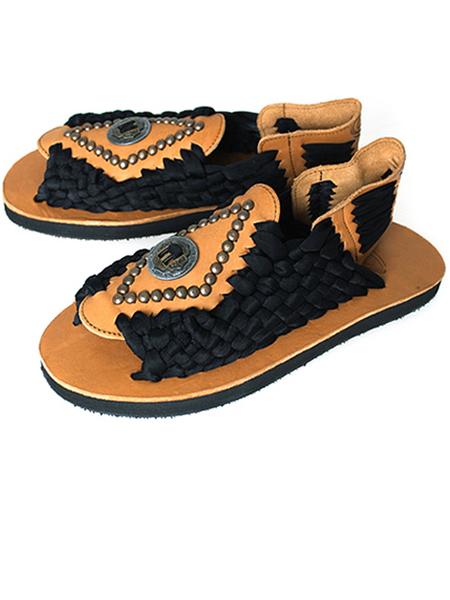 CHUBASCO M Aztec Rivet Sandals - Black and Calf