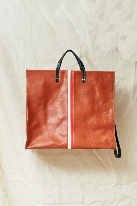 Clare V. Leather Simple Tote - Cognac