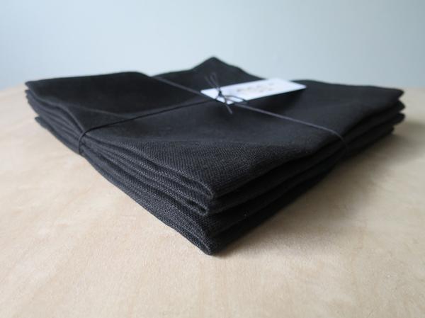 Lissu Linen Napkin Set - Black