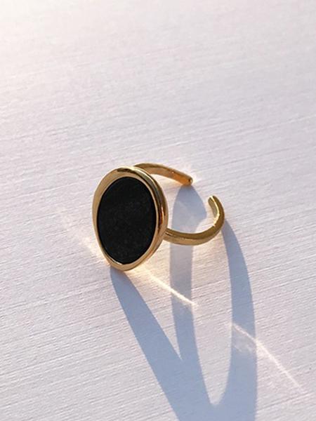 CONTEMPO.H Black Serpentine Pebble Gold Ring