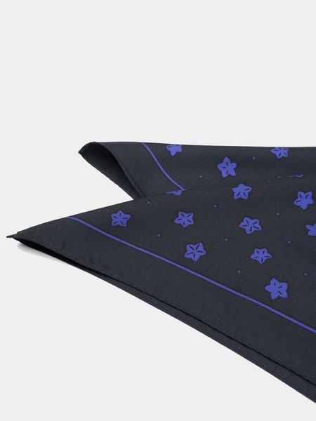 Blue Blue Japan Woven Balloon Flower Pattern Silk Bandana - Black