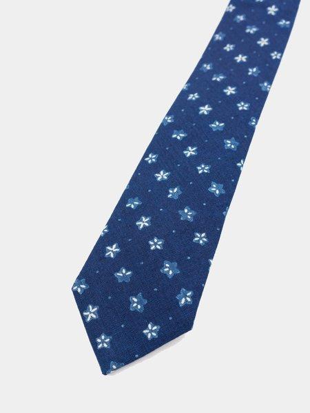 "Blue Blue Japan Woven Selvedge Cloth Balloon Flower ""Komon"" Pattern Tie - Indigo"