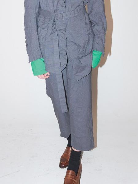 Bouton Belted Check Slacks - Gray Check