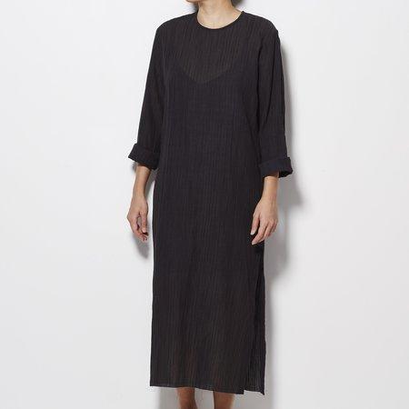 Matin Pleated Side Split Dress with Slip - Black