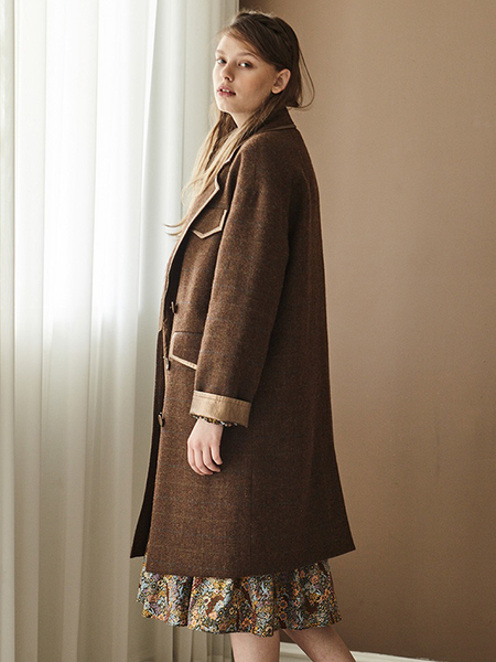 INES Faux Leather Trimming Point Coat - BROWN