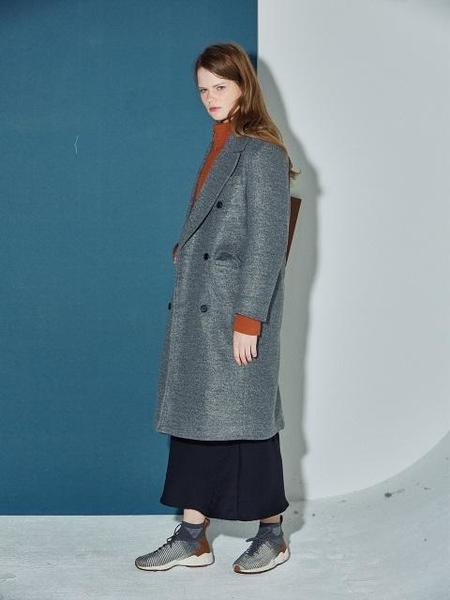 Unisex Agender Oversize Double Coat - Gray
