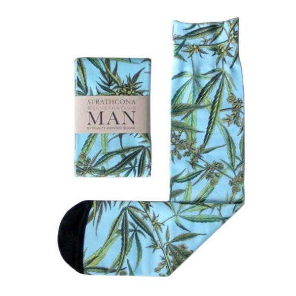 Men's Strathcona Stockings Blue Weed Socks