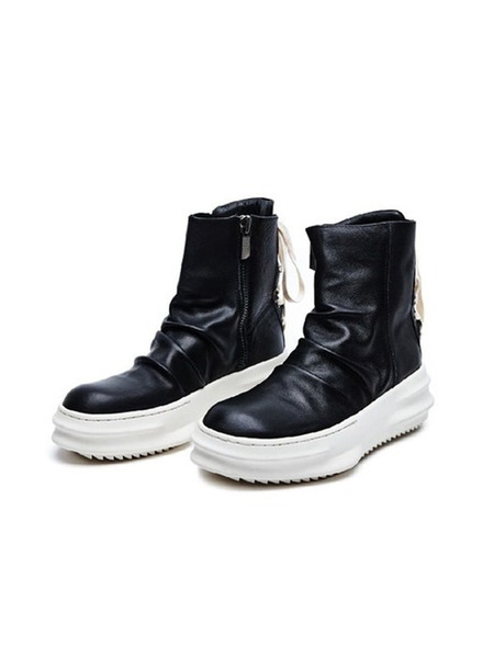 DGNAK Lace Up Leather High-Top - Black