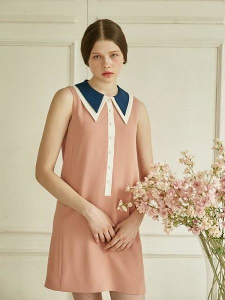 DEBB Signature Collar Sleeveless - Navy/Peach