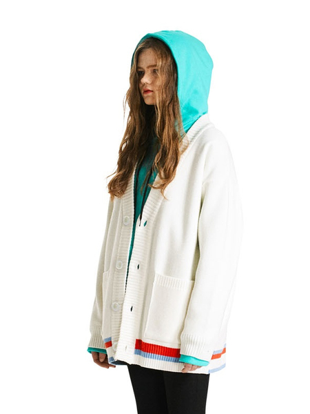 Unisex HEICH BLADE Line Coloring Cardigan - White