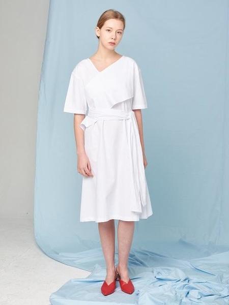 Aoemq Belted Cotton Dress - White