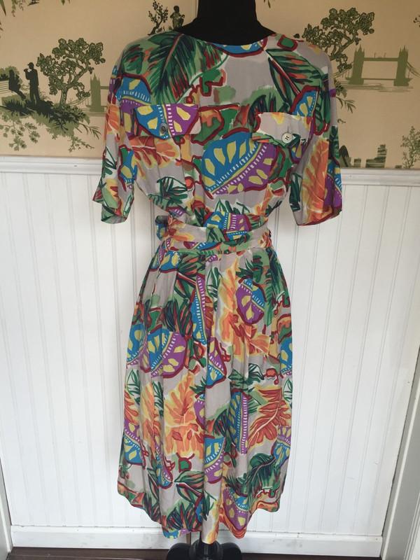 Italian designer Gio 70's vintage dress with colorful vintage pattern fits medium/large