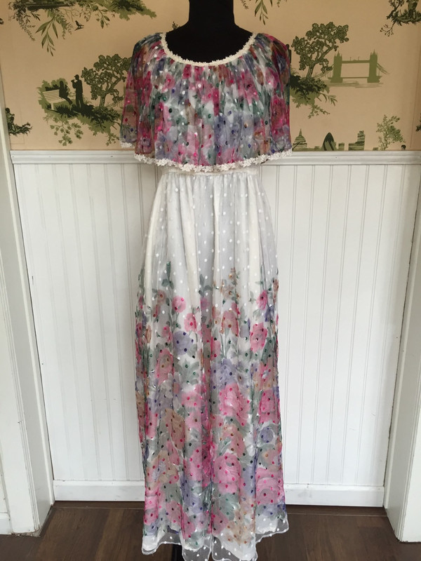 Japanese Floral  Gunne Sax style 70's tulle and satin long romantic gown