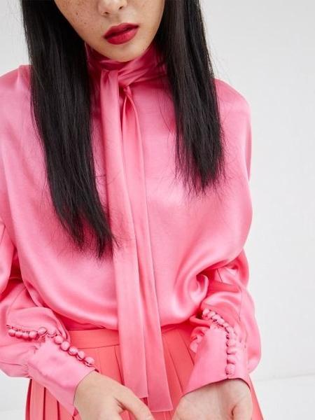 Happening Scarf Tie Silk Blouse - Pink