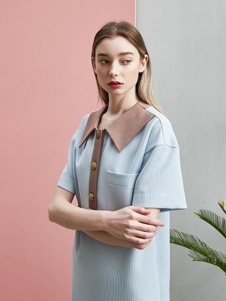 COLLABOTORY Loose Fit Pique Dress - Light Blue