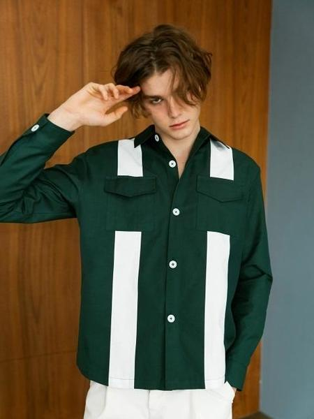 Bonnie&Blanche Big Stripe Shirt Jacket - Green