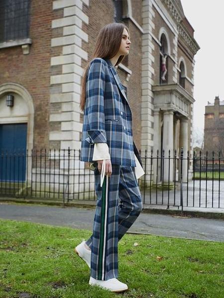 Ava Molli Jenia Boot Cut Pants - Check Blue