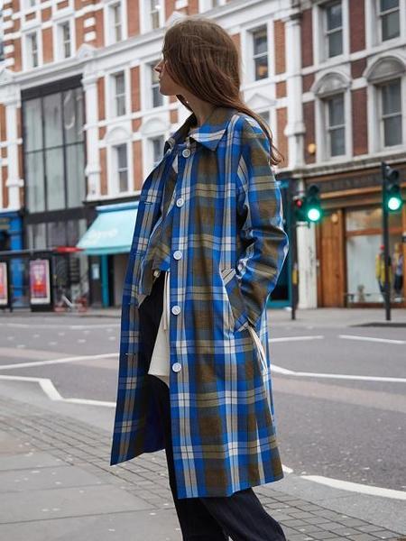 Ava Molli Oscar Mac Coat - Check Blue