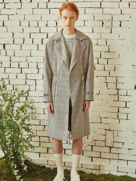 By Standard Hounds-Tooth Check Trench Coat - Grey Check