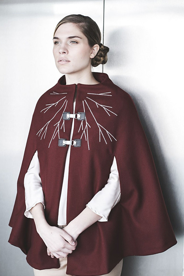 Livlov Burgundy Embroidered Cape
