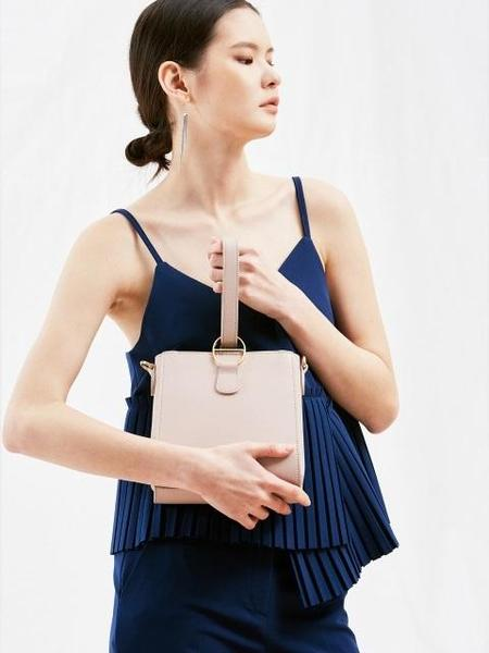 JOORTI J135 Mini Buckle Handle Leather Bag - Pink