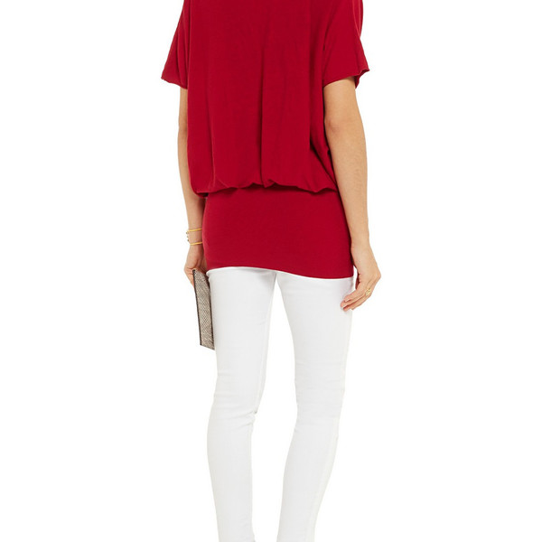 Red draped jersey tunic