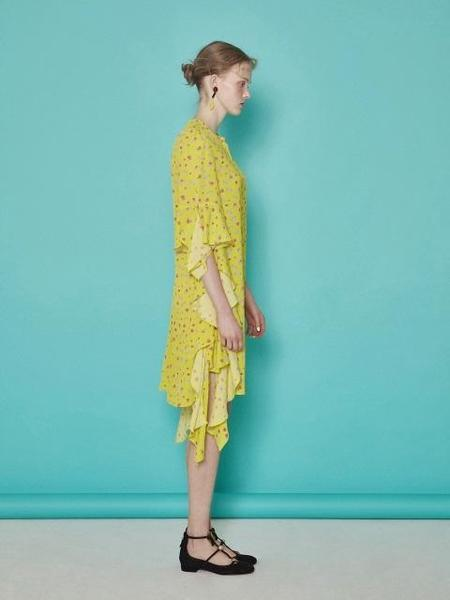 Bubulee New Butterfly Ruffle Dress - Yellow