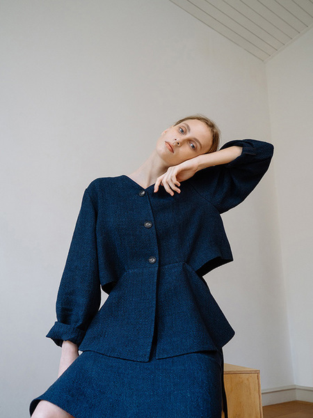 CHUNGPEPE Side Ribbon Cardigan - Navy