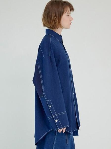 GROUNDWAVE Oversize Big Pocket Shirt - Denim