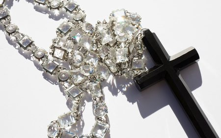 Found By Kindred Black Vintage Crystal Rosary Necklace