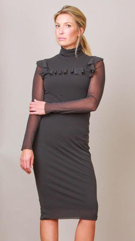 Fuzzi Long Sleeve Turtleneck Dress With Ruffles - Black