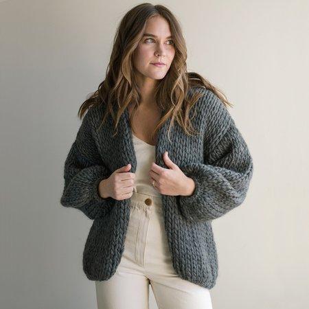 Hendrik.Lou Hand Knit Wool Cardigan - Charcoal