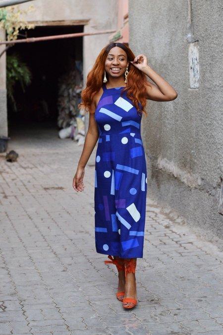 Dusen Dusen High Neck Rayon  Dress - Blue Mobile