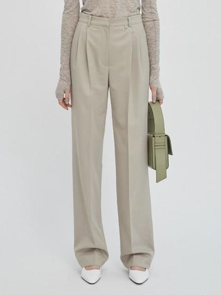 GABRIEL LEE High Waisted Wide Leg Trousers - Olive
